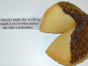 fortune cookie chocolate with gold sanding sugar