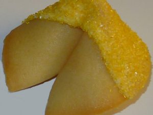fortune cookie white chocolate with yellow sanding sugar
