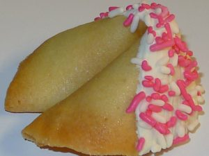 Fourtune cookie with pink sprinkles