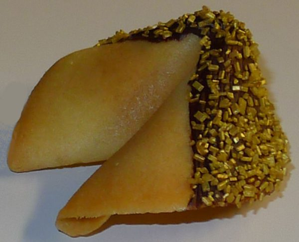 fortune cookie chocolate with gold crystals