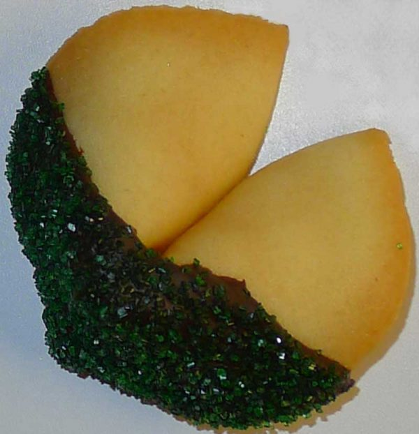fortune cookie chocolate with green sanding sugar