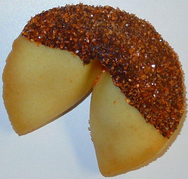 fortune cookie chocolate with orange sanding sugar