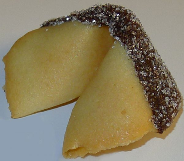 Fortune cookie with chocolate and white sanding sugar