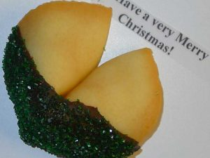 fortune cookie with chocolate and green sanding sugar