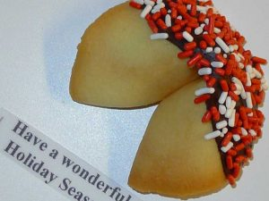 Fortune Cookie withe red and white sprinkles