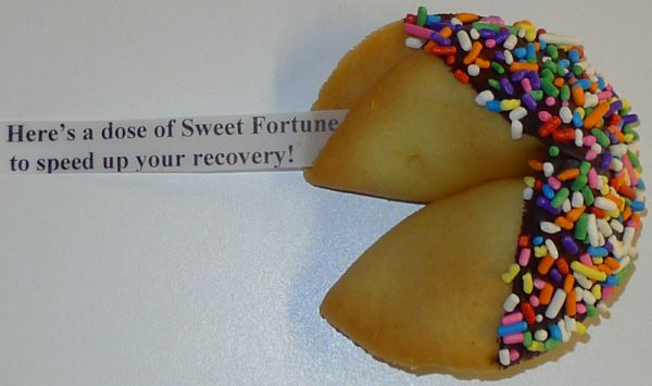 fortune cookie chocolate with multi color sprinkles