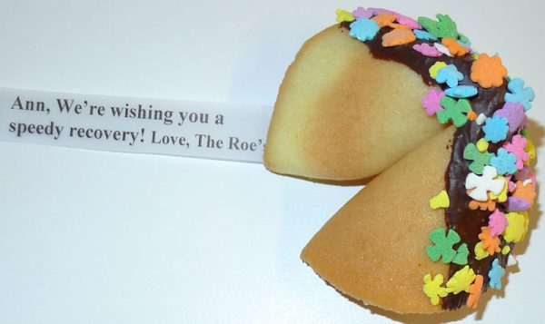 fortune cookie chocolate with pastel flower sprinkles