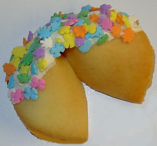 fortune cookie white chocolate and pastel flowers
