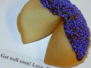 fortune cookie chocolate with purple nonpareils