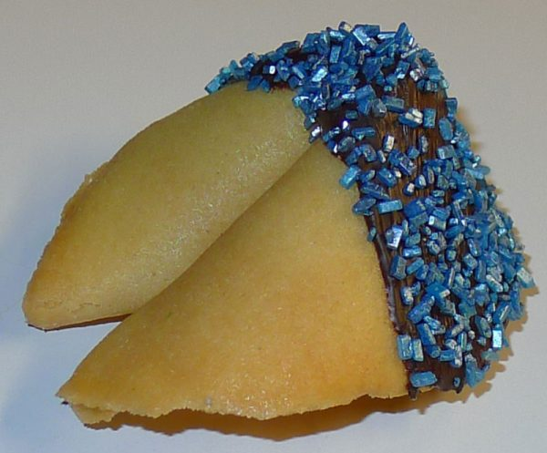 fortune cookie chocolate with blue crystals