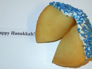fortune cookie white chocolate with blue crystals