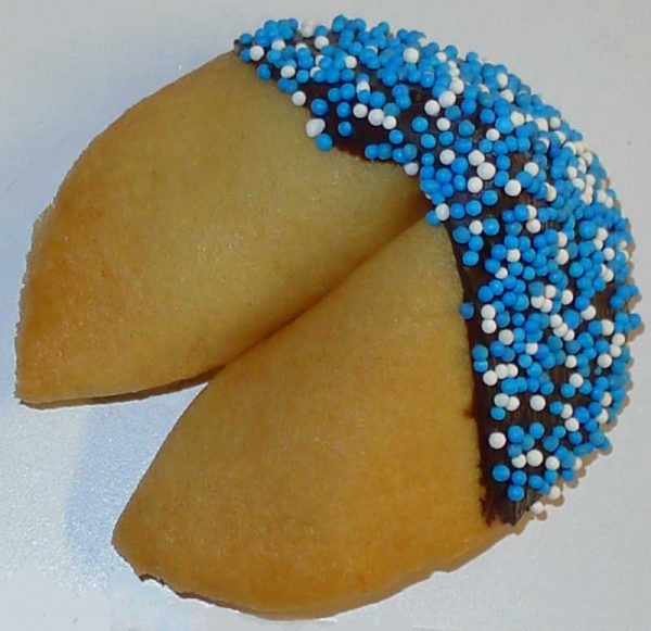 chocolate with blue & white sprinkles