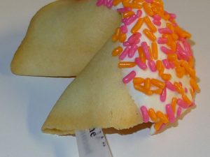 fortune cookies white chocolate with pink and orange sprinkles