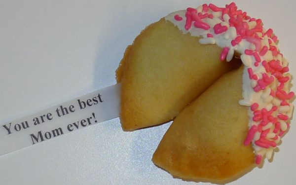 fortune cookie white chocolate with pink and white sprinkles