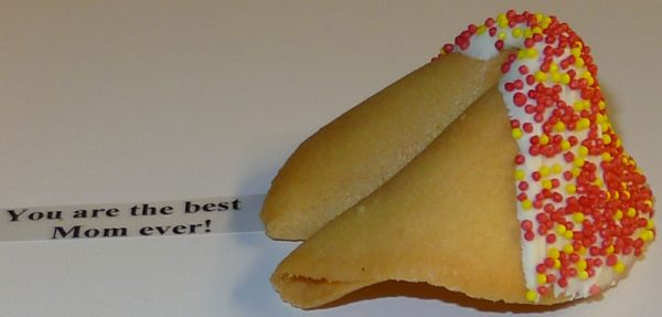 fortune cookies white chocolate with red and yellow