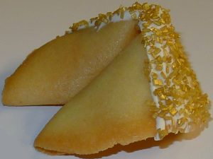 fortune cookie white chocolate with gold crystals