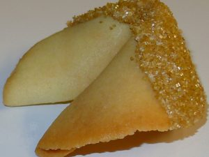 fortune cookie white chocolate with gold sanding sugar
