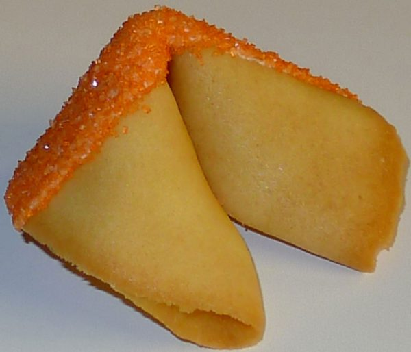 fortune cookie white chocolate with orange sanding sugar