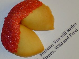 fortune cookie White chocolate with red sugar