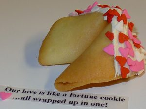 fortune cookie white chocolate with pink hearts