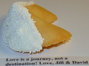 fortune cookie White chocolate with white sprinkles