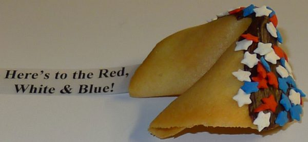 Fortune Cookie- red, white and blue